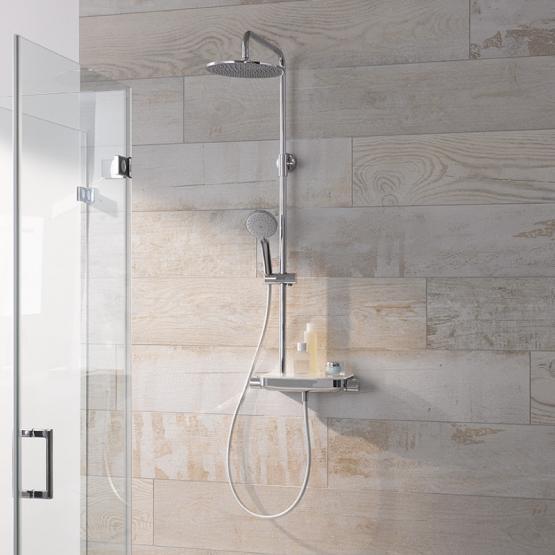 HSK Shower-Set RS 200 AquaTray THERMOSTAT mit Ablage Glasfarbe weiß