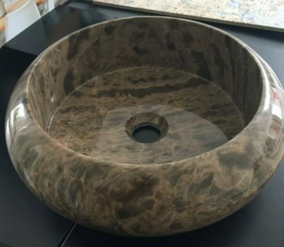Waschbecken braun rund Naturstein Marmor Poliert